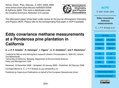 Eddy Covariance Methane Measurements at ... by Smeets, C. J. P. P.
