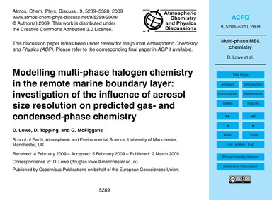 Modelling Multi-phase Halogen Chemistry ... by Lowe, D.