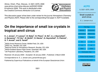 On the Importance of Small Ice Crystals ... by Jensen, E. J.