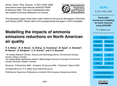Modelling the Impacts of Ammonia Emissio... by Makar, P. A.