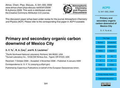 Primary and Secondary Organic Carbon Dow... by Yu, X.-y.