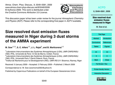 Size Resolved Dust Emission Fluxes Measu... by Sow, M.