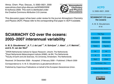 Sciamachy Co Over the Oceans: 2003–2007 ... by Gloudemans, A. M. S.