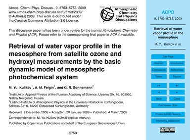Retrieval of Water Vapor Profile in the ... by Kulikov, M. Yu.