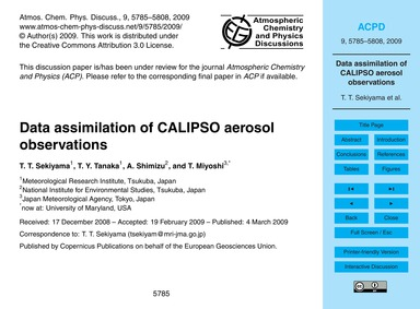 Data Assimilation of Calipso Aerosol Obs... by Sekiyama, T. T.