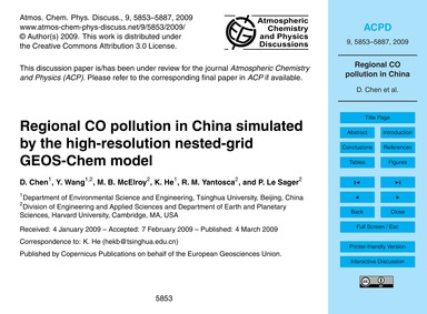 Regional Co Pollution in China Simulated... by Chen, D.