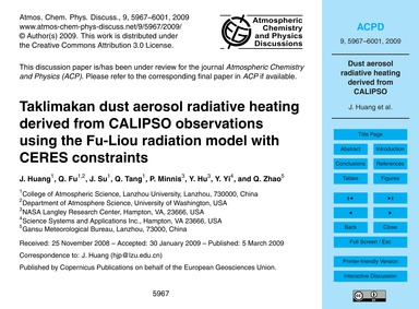 Taklimakan Dust Aerosol Radiative Heatin... by Huang, J.
