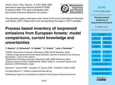 Process Based Inventory of Isoprenoid Em... by Keenan, T.