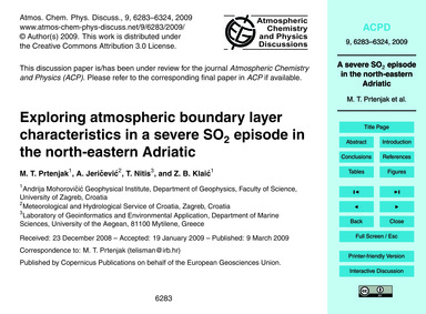 Exploring Atmospheric Boundary Layer Cha... by Prtenjak, M. T.