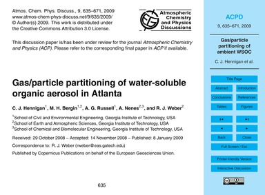 Gas/Particle Partitioning of Water-solub... by Hennigan, C. J.