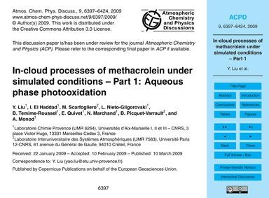 In-cloud Processes of Methacrolein Under... by Liu, Y.