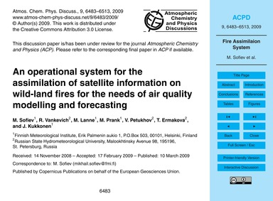 An Operational System for the Assimilati... by Sofiev, M.