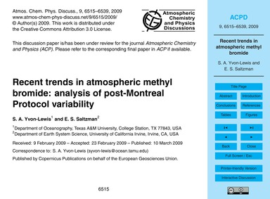 Recent Trends in Atmospheric Methyl Brom... by Yvon-lewis, S. A.
