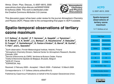 Spatio-temporal Observations of Tertiary... by Sofieva, V. F.