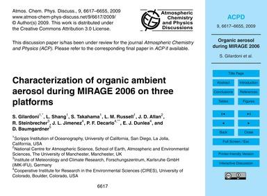 Characterization of Organic Ambient Aero... by Gilardoni, S.