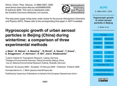 Hygroscopic Growth of Urban Aerosol Part... by Meier, J.
