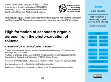 High Formation of Secondary Organic Aero... by Hildebrandt, L.