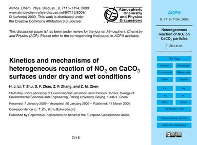 Kinetics and Mechanisms of Heterogeneous... by Li, H. J.