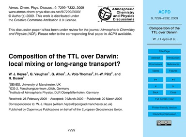 Composition of the Ttl Over Darwin: Loca... by Heyes, W. J.