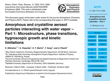 Amorphous and Crystalline Aerosol Partic... by Mikhailov, E.