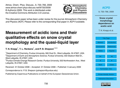 Measurement of Acidic Ions and Their Qua... by Knepp, T. N.