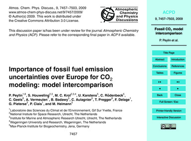 Importance of Fossil Fuel Emission Uncer... by Peylin, P.