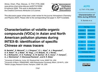 Characterization of Volatile Organic Com... by Barletta, B.