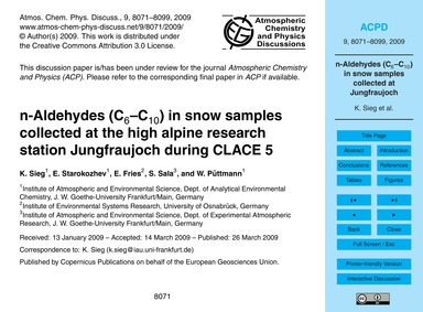N-aldehydes (C6–c10) in Snow Samples Col... by Sieg, K.