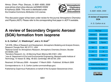 A Review of Secondary Organic Aerosol (S... by Carlton, A. G.