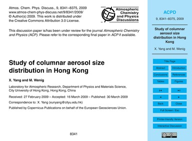 Study of Columnar Aerosol Size Distribut... by Yang, X.