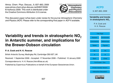 Variability and Trends in Stratospheric ... by Cook, P. A.