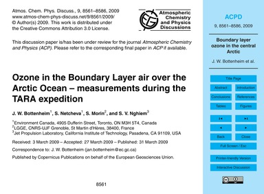 Ozone in the Boundary Layer Air Over the... by Bottenheim, J. W.