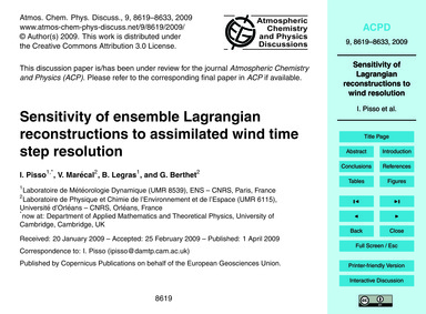 Sensitivity of Ensemble Lagrangian Recon... by Pisso, I.