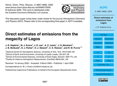 Direct Estimates of Emissions from the M... by Hopkins, J. R.