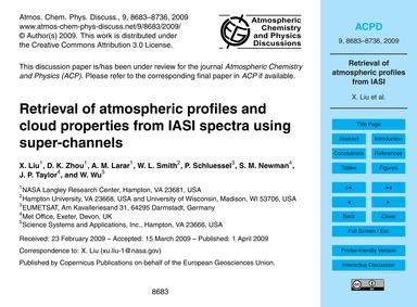 Retrieval of Atmospheric Profiles and Cl... by Liu, X.