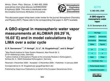 A Qbo-signal in Mesospheric Water Vapor ... by Sonnemann, G. R.