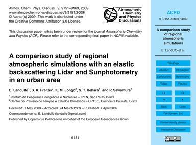 A Comparison Study of Regional Atmospher... by Landulfo, E.