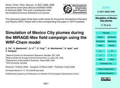 Simulation of Mexico City Plumes During ... by Tie, X.