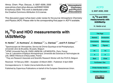 H216O and Hdo Measurements with Iasi/Met... by Herbin, H.