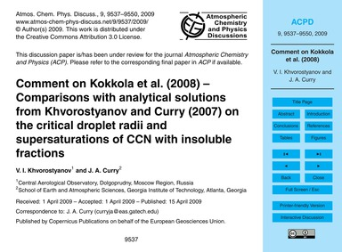 Comment on Kokkola Et Al. (2008) – Compa... by Khvorostyanov, V. I.