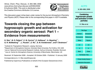 Towards Closing the Gap Between Hygrosco... by Wex, H.