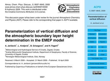 Parameterization of Vertical Diffusion a... by Jeričević, A.