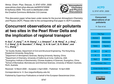 Concurrent Observations of Air Pollutant... by Guo, H.