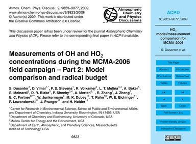 Measurements of Oh and Ho2 Concentration... by Dusanter, S.
