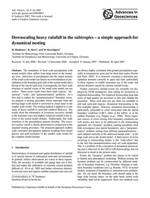 Downscaling Heavy Rainfall in the Subtro... by Huebener, H.