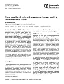 Global Modelling of Continental Water St... by Fiedler, K.