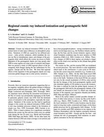 Regional Cosmic Ray Induced Ionization a... by Kovaltsov, G. A.