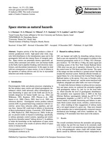 Space Storms as Natural Hazards : Volume... by Dorman, L. I.
