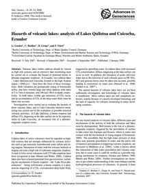 Hazards of Volcanic Lakes: Analysis of L... by Gunkel, G.