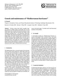 Genesis and Maintenance of Mediterranean... by Emanuel, K.